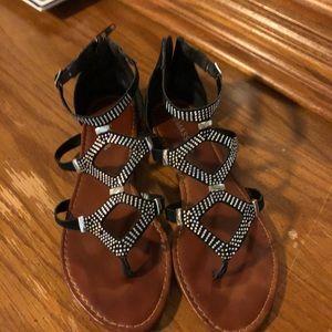 Black gladiator style flat sandals